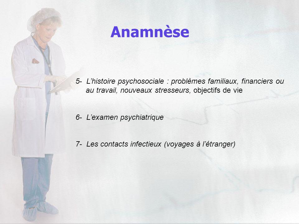 Anamnèse5- L'histoire psychosociale : problèmes familiaux, financiers ou. au travail, nouveaux stresseurs, objectifs de vie.