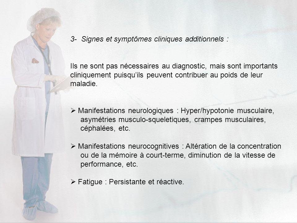 3- Signes et symptômes cliniques additionnels :