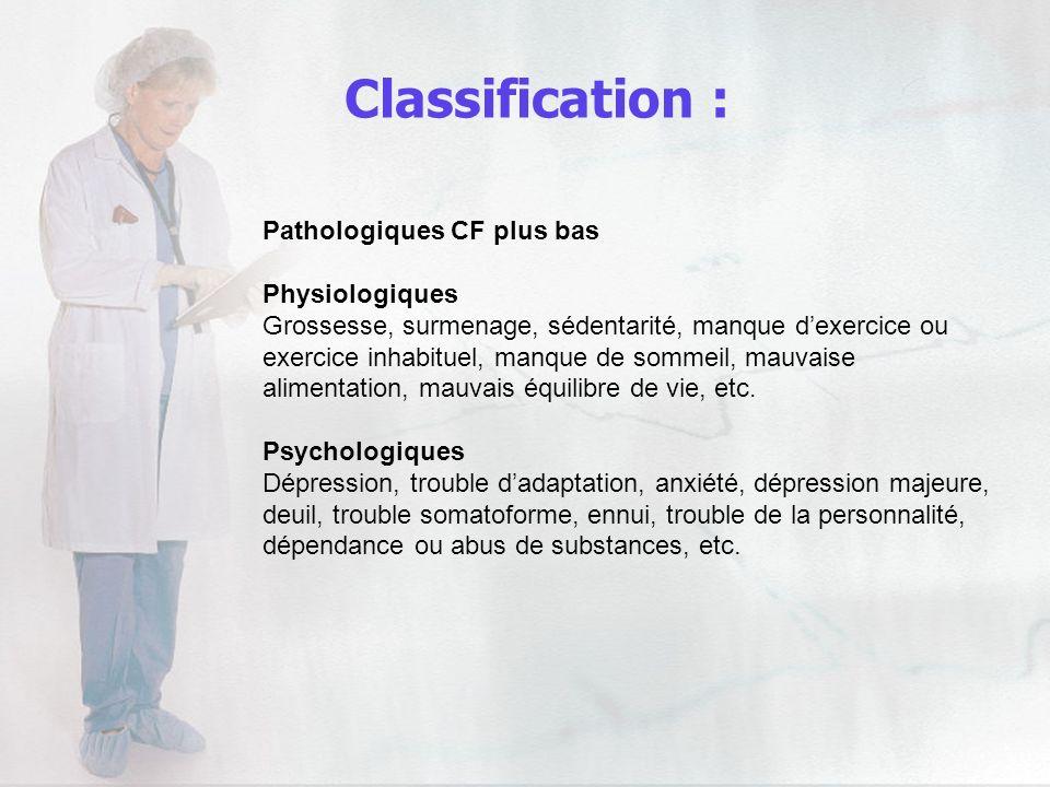 Classification : Pathologiques CF plus bas Physiologiques