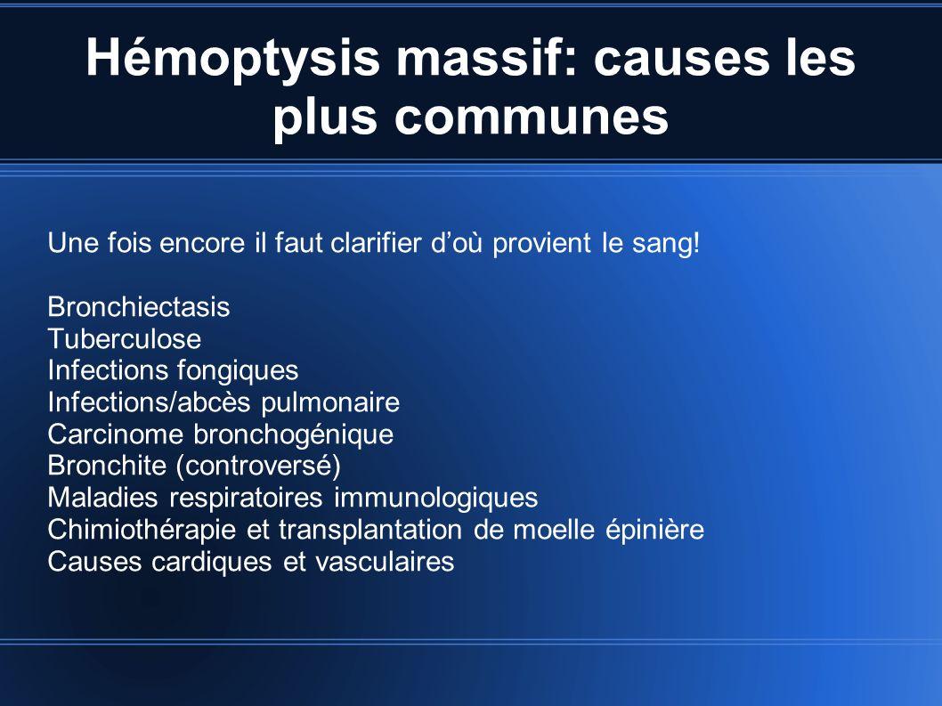 Hémoptysis massif: causes les plus communes