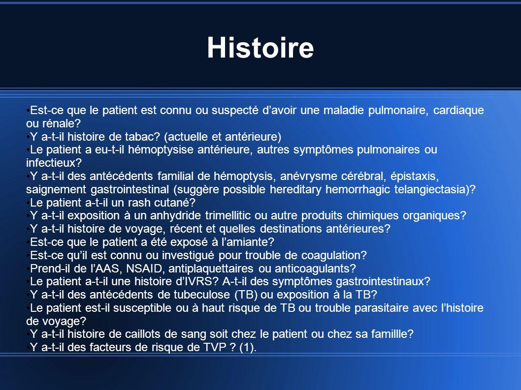 Histoire Est-ce que le patient est connu ou suspecté d'avoir une maladie pulmonaire, cardiaque ou rénale
