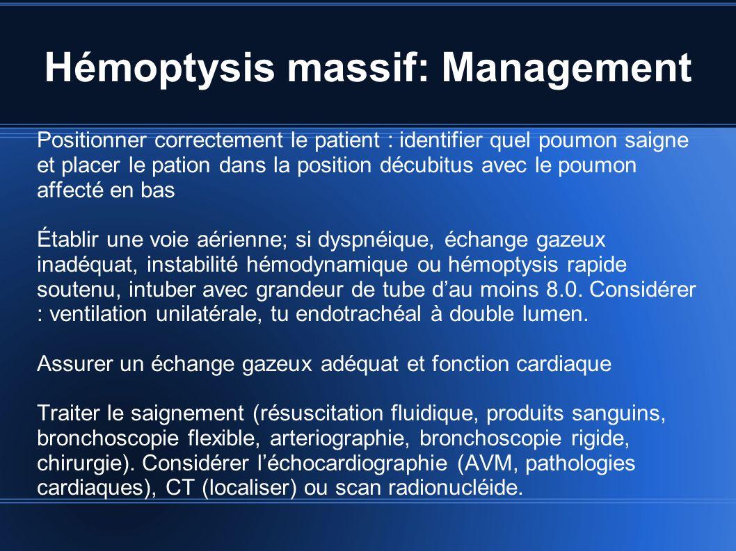 Hémoptysis massif: Management