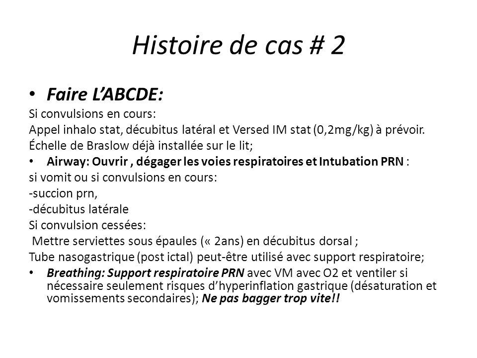 Histoire de cas # 2 Faire L'ABCDE: Si convulsions en cours: