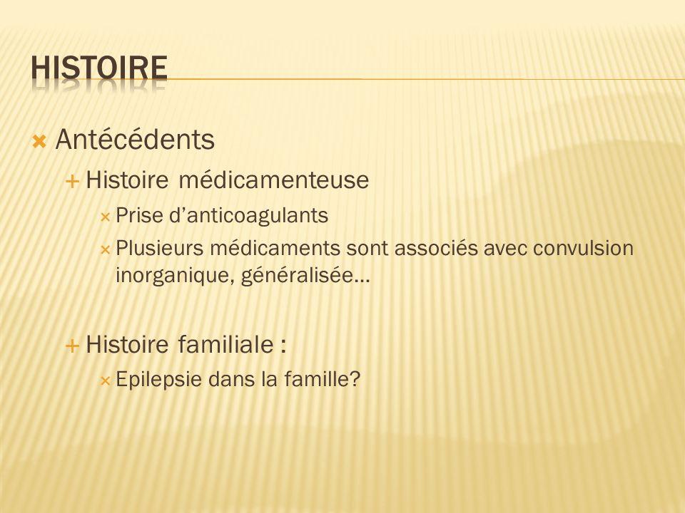 Histoire Antécédents Histoire médicamenteuse Histoire familiale :