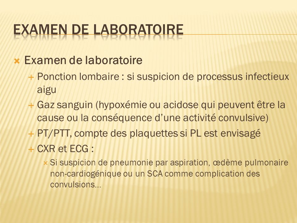 Examen de laboratoire Examen de laboratoire