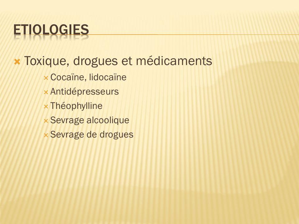 Etiologies Toxique, drogues et médicaments Cocaïne, lidocaïne