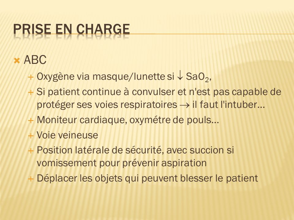Prise en charge ABC Oxygène via masque/lunette si  SaO2,