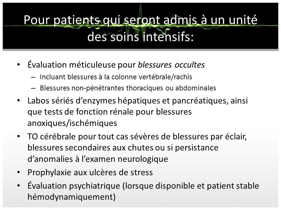 Pour patients qui seront admis à un unité des soins intensifs: