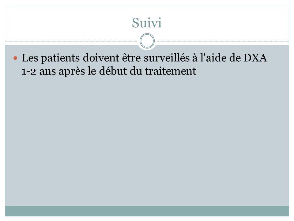 Suivi Les patients doivent être surveillés à l aide de DXA 1-2 ans après le début du traitement