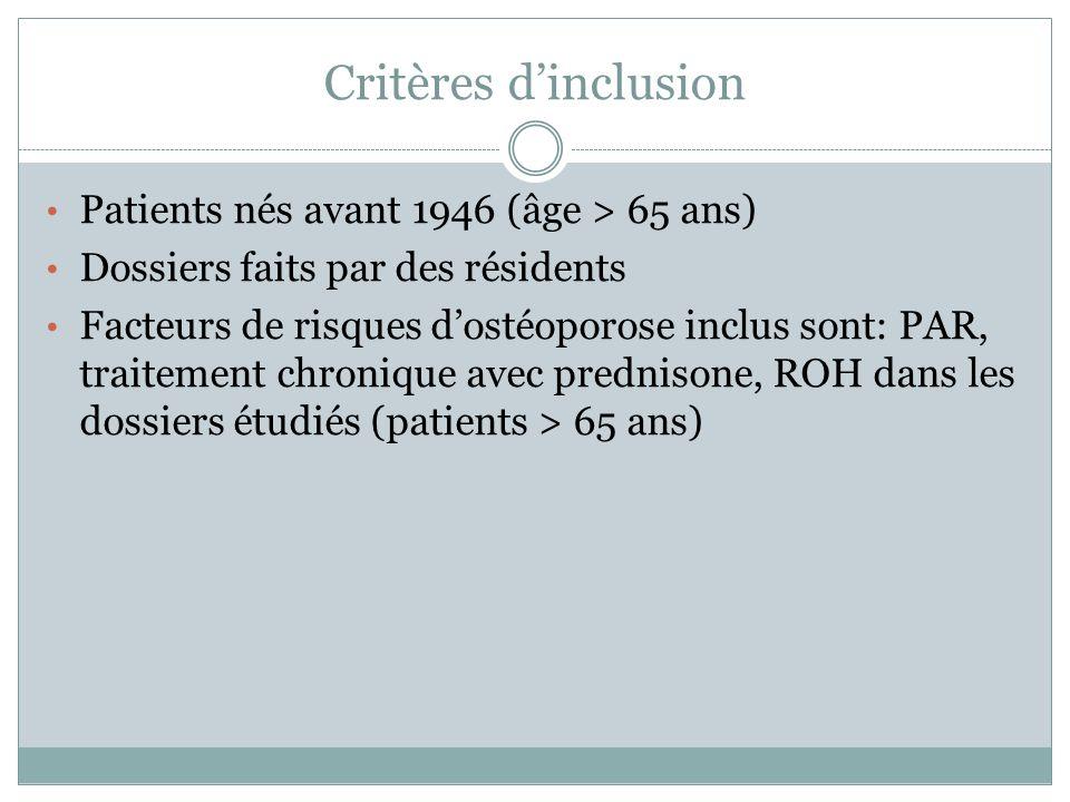 Critères d'inclusion Patients nés avant 1946 (âge > 65 ans)