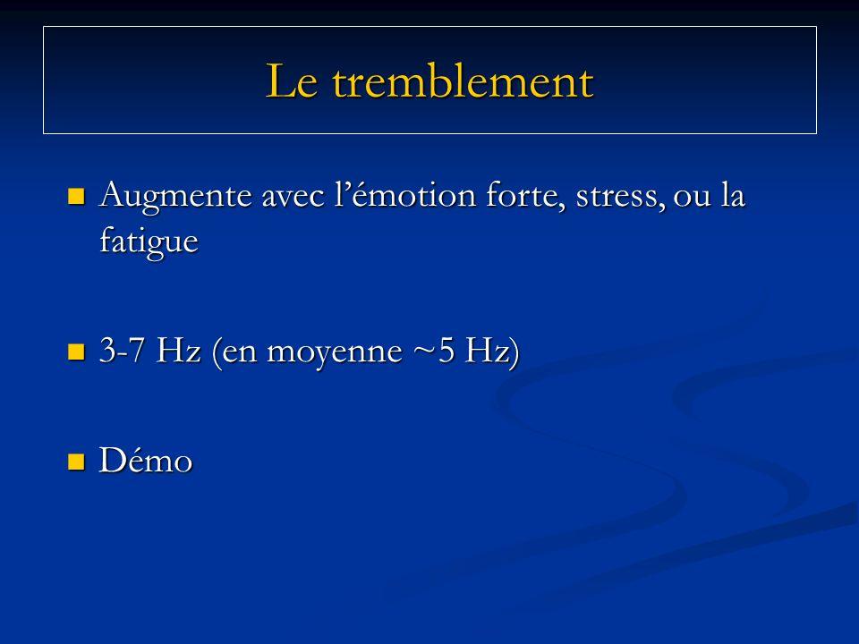 Le tremblement Augmente avec l'émotion forte, stress, ou la fatigue
