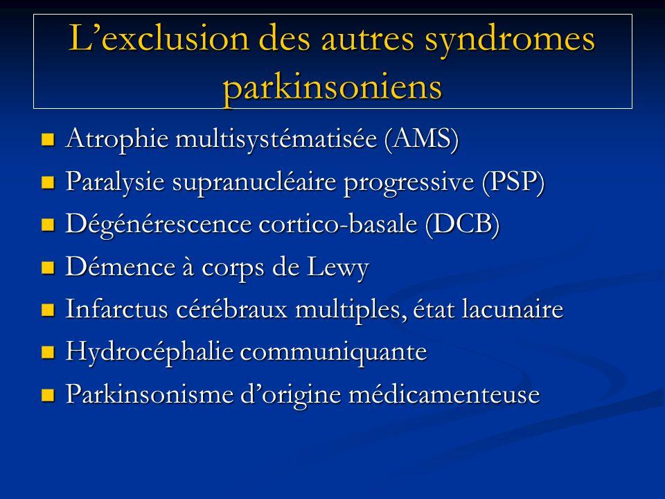 L'exclusion des autres syndromes parkinsoniens