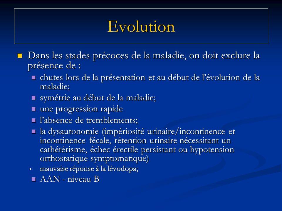 EvolutionDans les stades précoces de la maladie, on doit exclure la présence de :