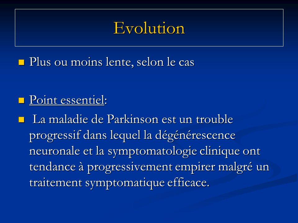 Evolution Plus ou moins lente, selon le cas Point essentiel: