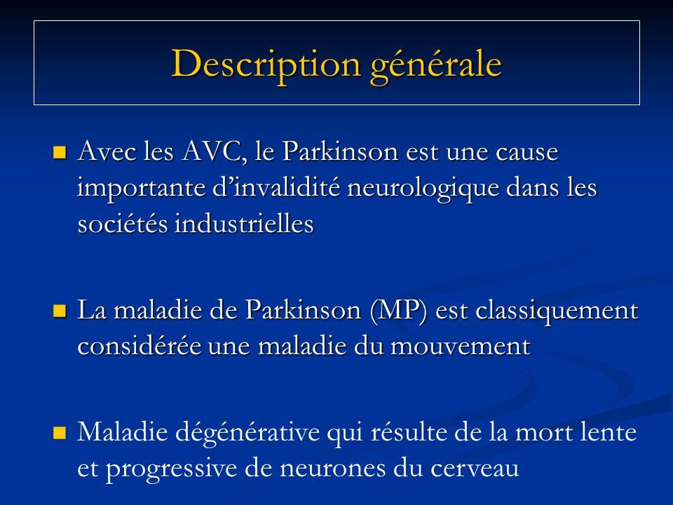 Description générale Avec les AVC, le Parkinson est une cause importante d'invalidité neurologique dans les sociétés industrielles.