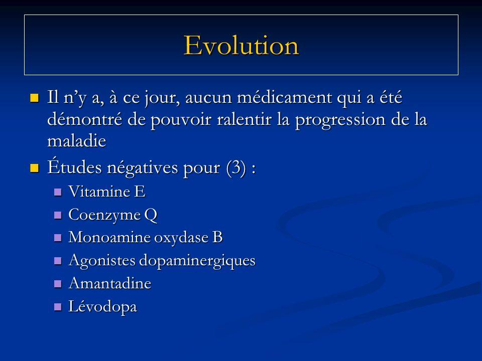 EvolutionIl n'y a, à ce jour, aucun médicament qui a été démontré de pouvoir ralentir la progression de la maladie.