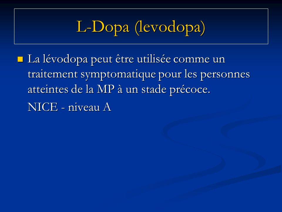 L-Dopa (levodopa)La lévodopa peut être utilisée comme un traitement symptomatique pour les personnes atteintes de la MP à un stade précoce.