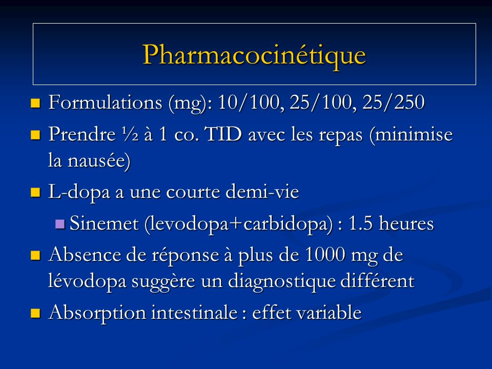 Pharmacocinétique Formulations (mg): 10/100, 25/100, 25/250