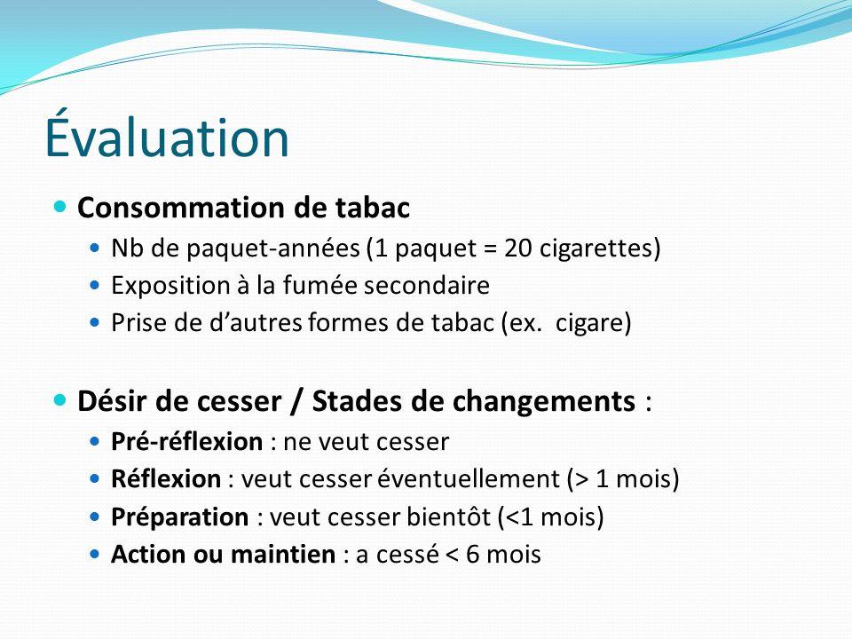 Évaluation Consommation de tabac