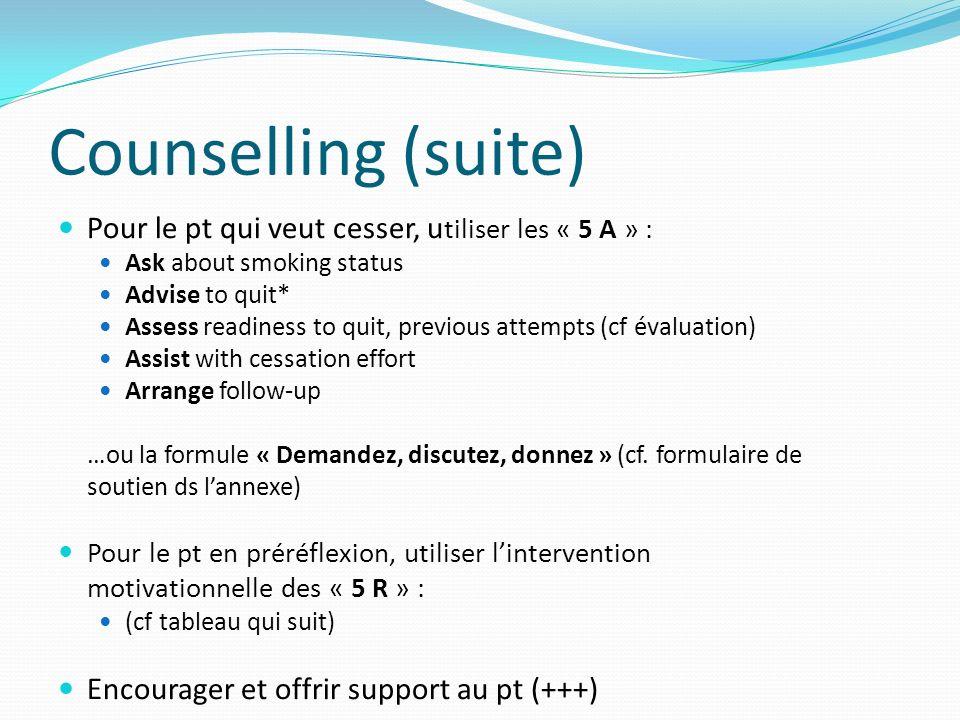 Counselling (suite) Pour le pt qui veut cesser, utiliser les « 5 A » :