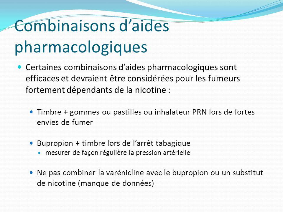 Combinaisons d'aides pharmacologiques