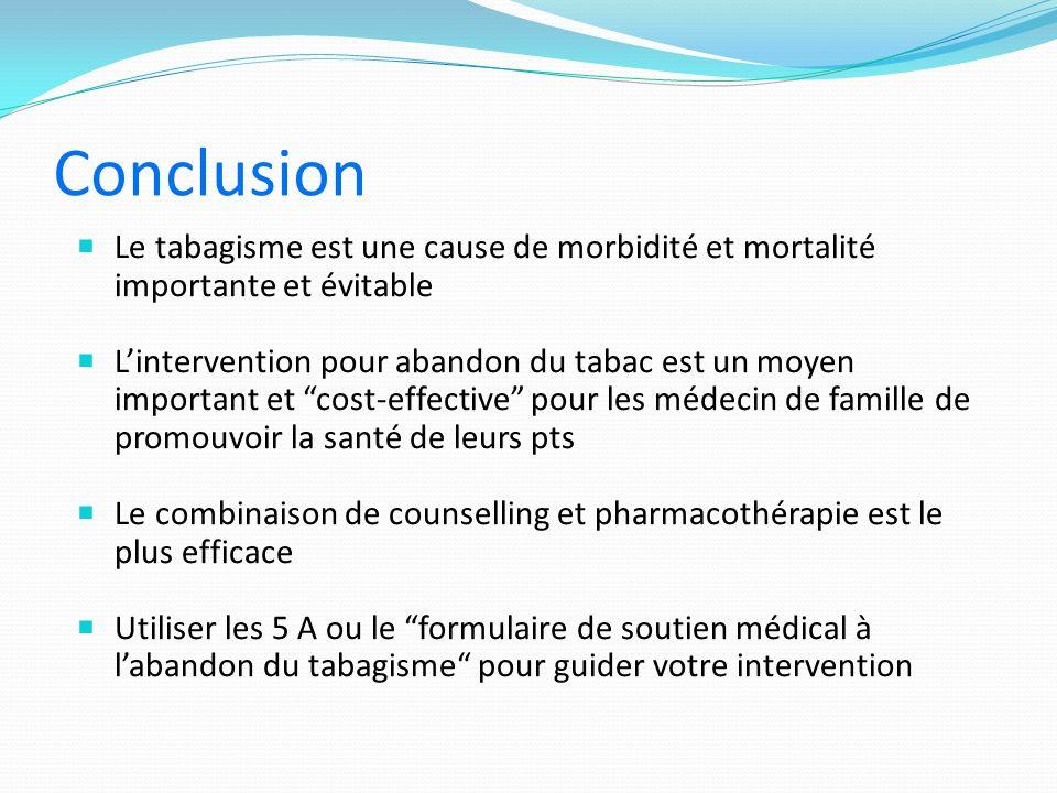 Conclusion Le tabagisme est une cause de morbidité et mortalité importante et évitable.