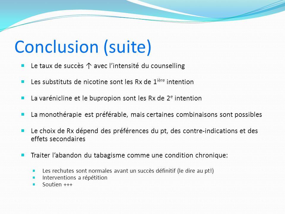 Conclusion (suite) Le taux de succès ↑ avec l'intensité du counselling