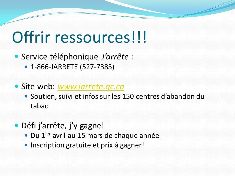 Offrir ressources!!! Service téléphonique J'arrête :