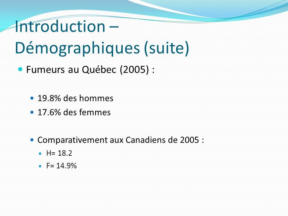 Introduction – Démographiques (suite)