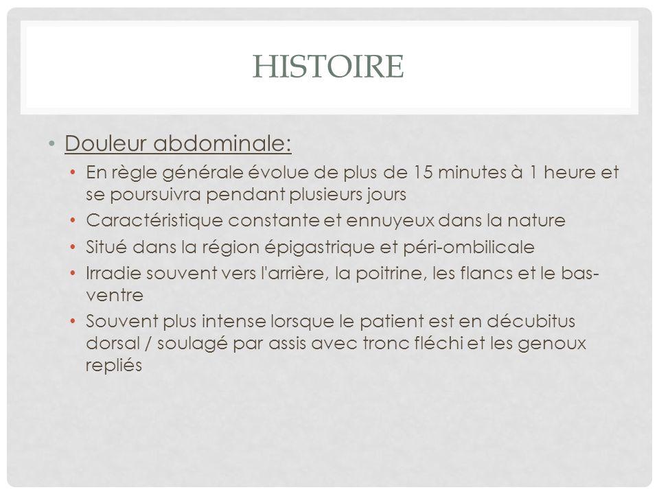 Histoire Douleur abdominale: