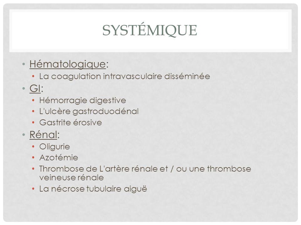 Systémique Hématologique: GI: Rénal: