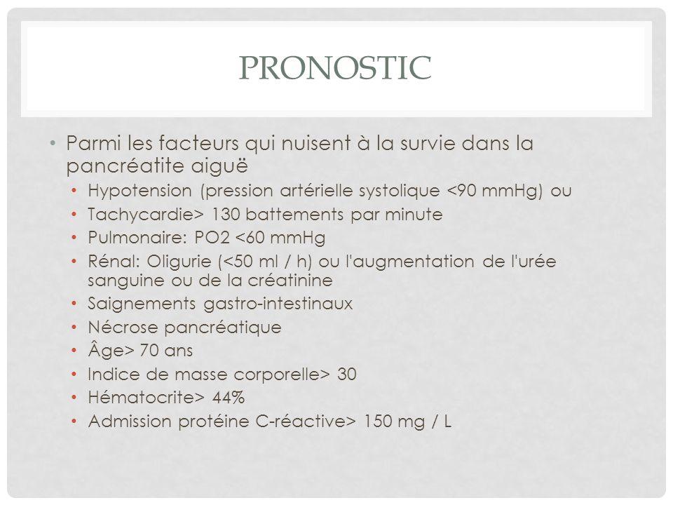 Pronostic Parmi les facteurs qui nuisent à la survie dans la pancréatite aiguë. Hypotension (pression artérielle systolique <90 mmHg) ou.