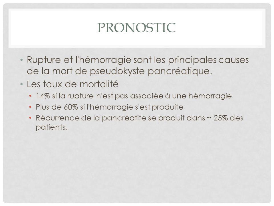PronosticRupture et l hémorragie sont les principales causes de la mort de pseudokyste pancréatique.