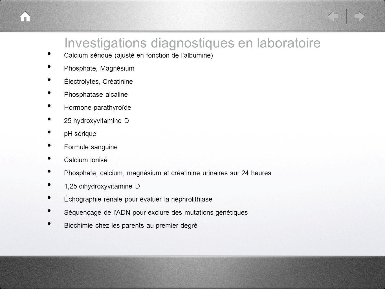Investigations diagnostiques en laboratoire