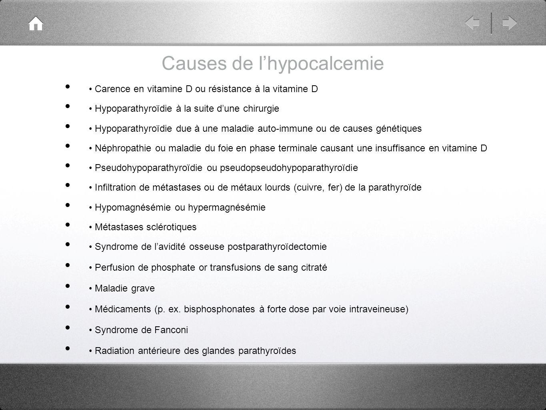 Causes de l'hypocalcemie