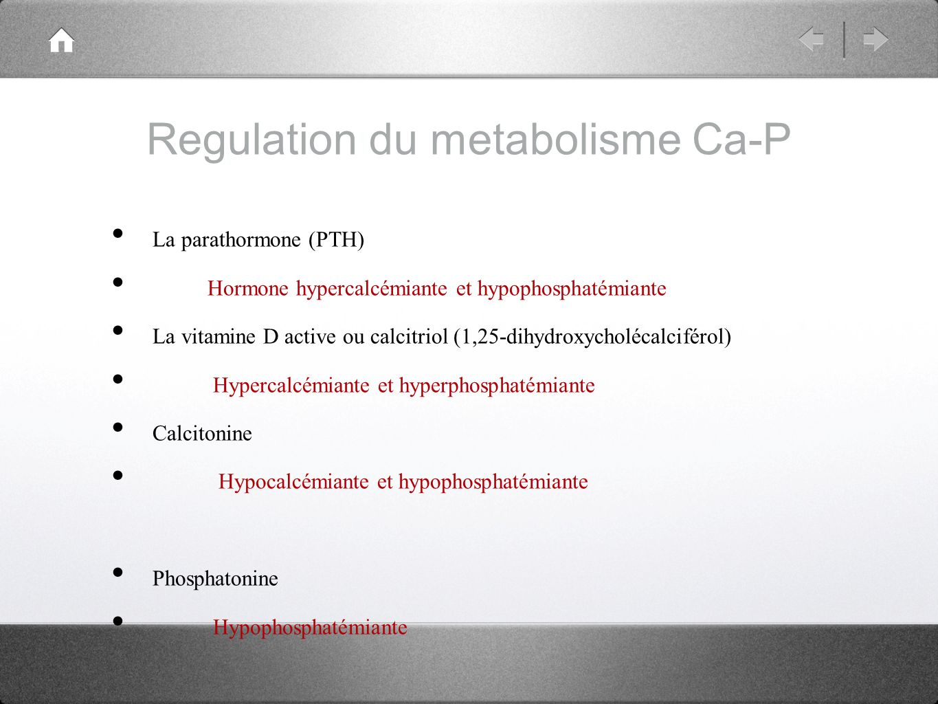 Regulation du metabolisme Ca-P