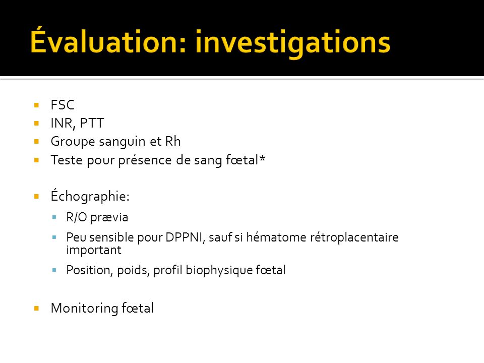 Évaluation: investigations