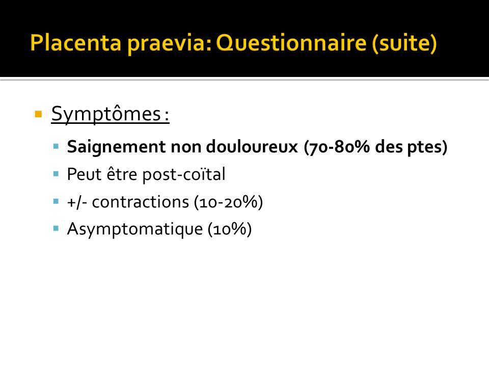 Placenta praevia: Questionnaire (suite)
