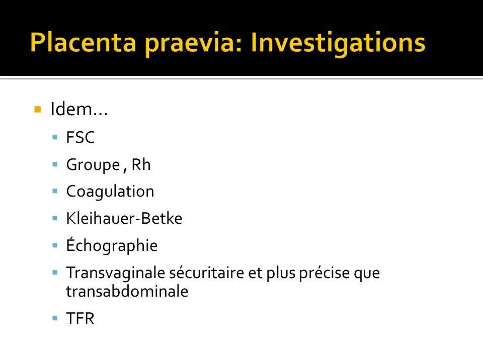 Placenta praevia: Investigations