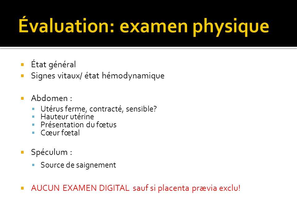 Évaluation: examen physique