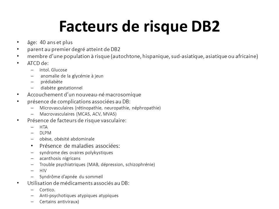 Facteurs de risque DB2 Présence de maladies associées: