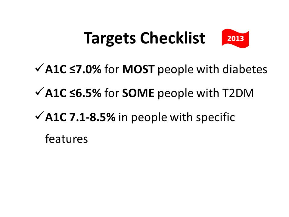Targets Checklist A1C ≤7.0% for MOST people with diabetes