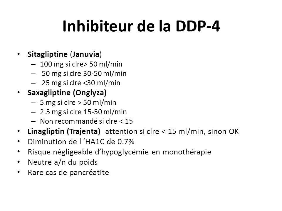 Inhibiteur de la DDP-4 Sitagliptine (Januvia) Saxagliptine (Onglyza)