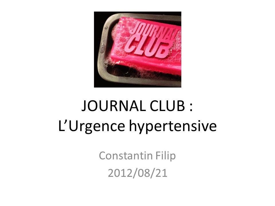 JOURNAL CLUB : L'Urgence hypertensive