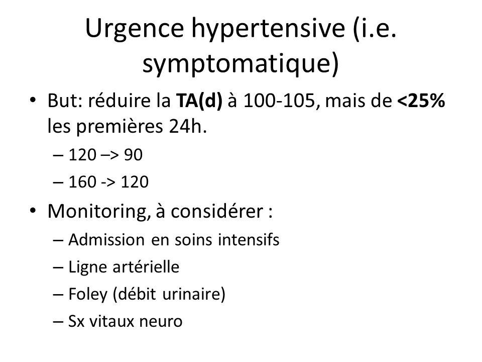 Urgence hypertensive (i.e. symptomatique)
