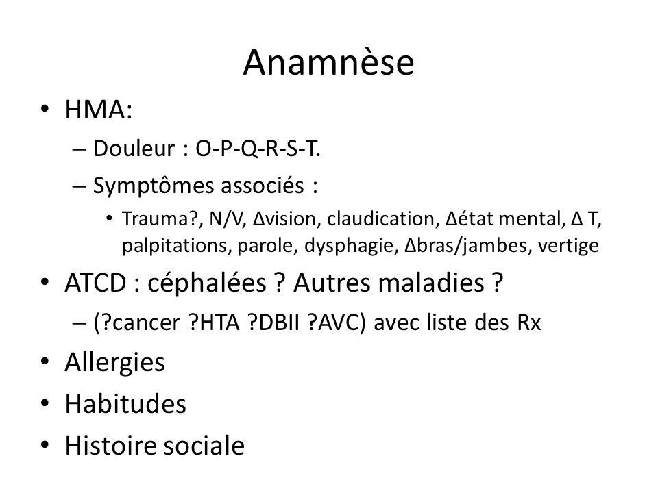 Anamnèse HMA: ATCD : céphalées Autres maladies Allergies Habitudes