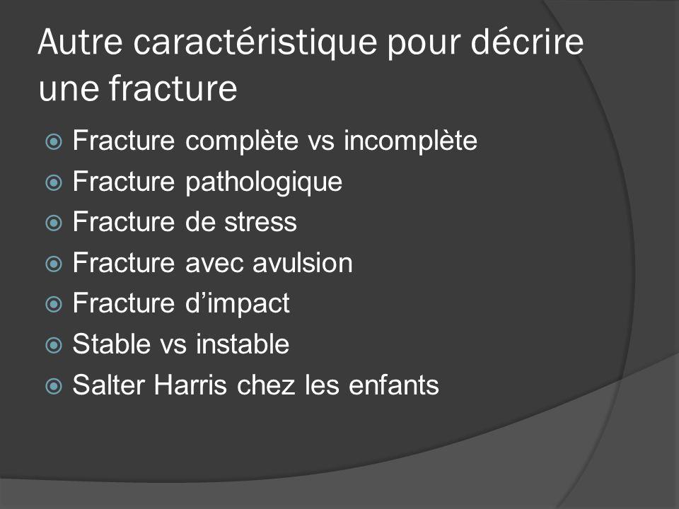 Autre caractéristique pour décrire une fracture