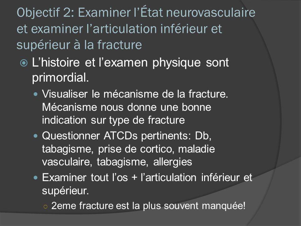 Objectif 2: Examiner l'État neurovasculaire et examiner l'articulation inférieur et supérieur à la fracture
