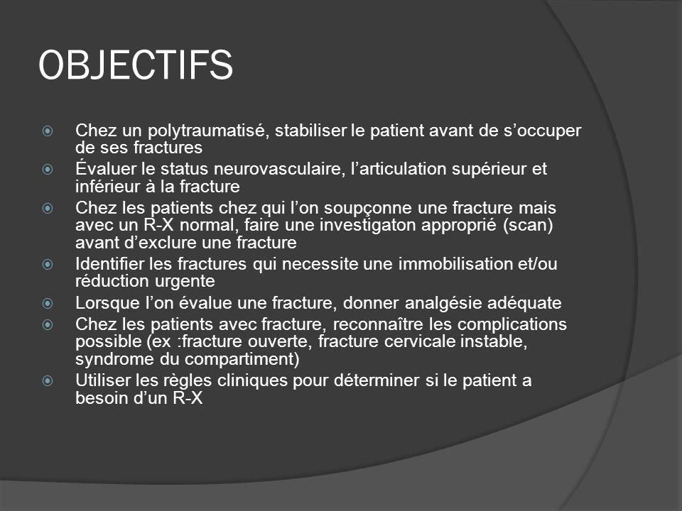 OBJECTIFS Chez un polytraumatisé, stabiliser le patient avant de s'occuper de ses fractures.
