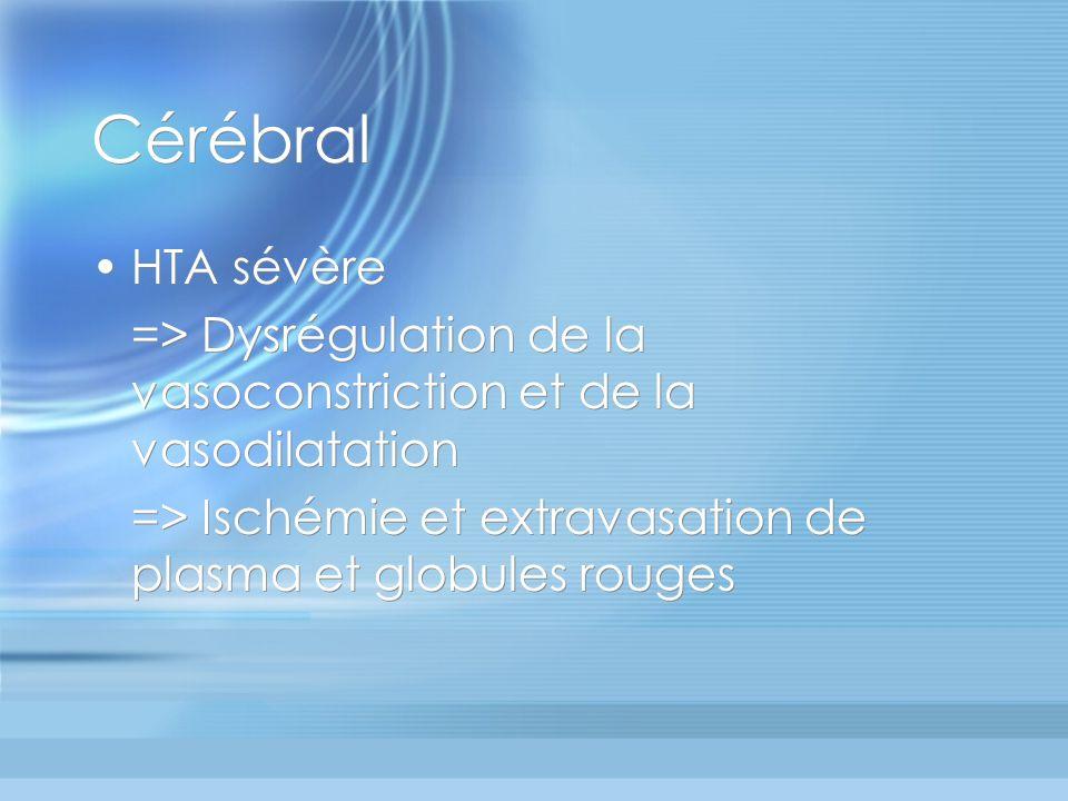 Cérébral HTA sévère. => Dysrégulation de la vasoconstriction et de la vasodilatation.